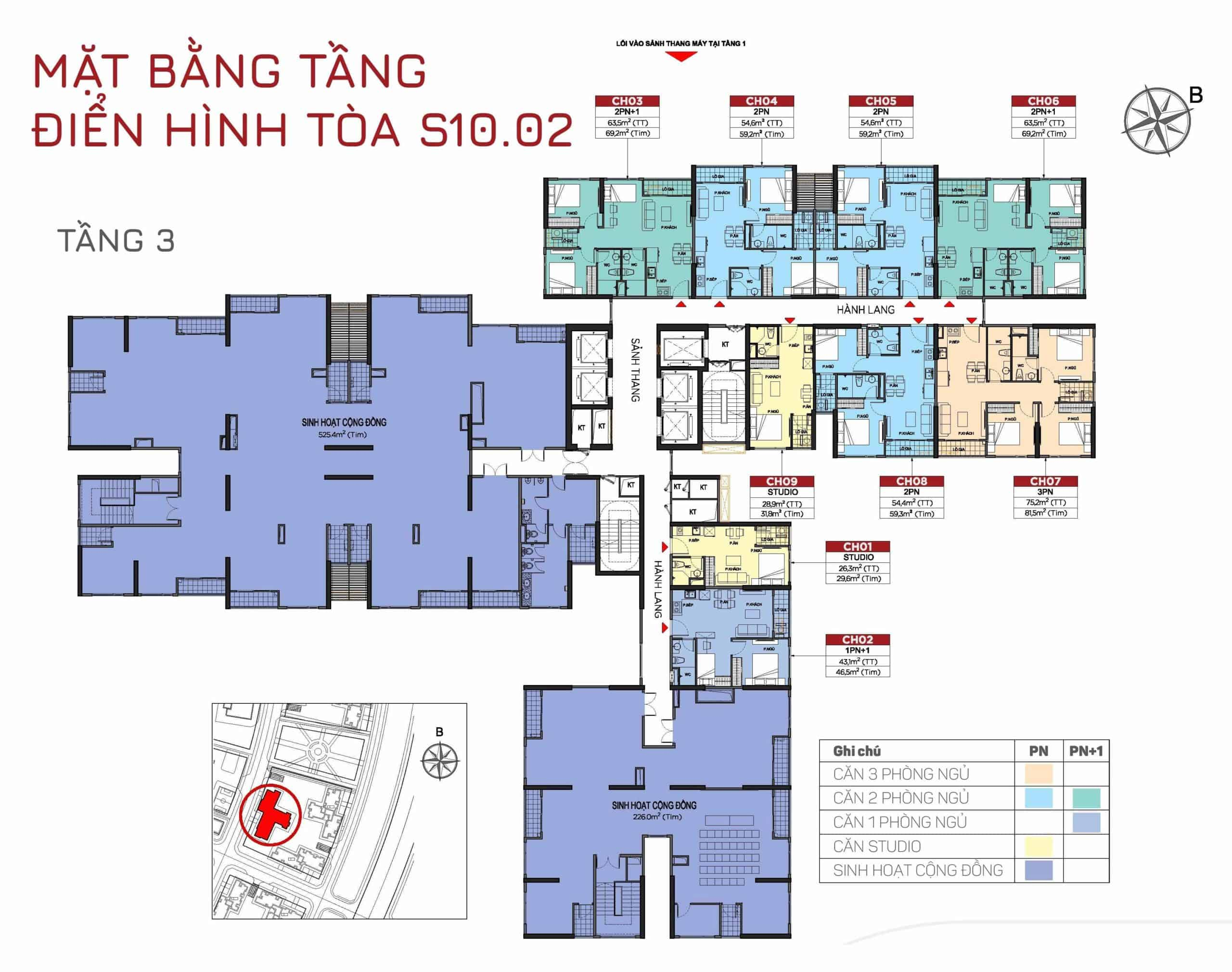 layout tòa s1002 tầng 3