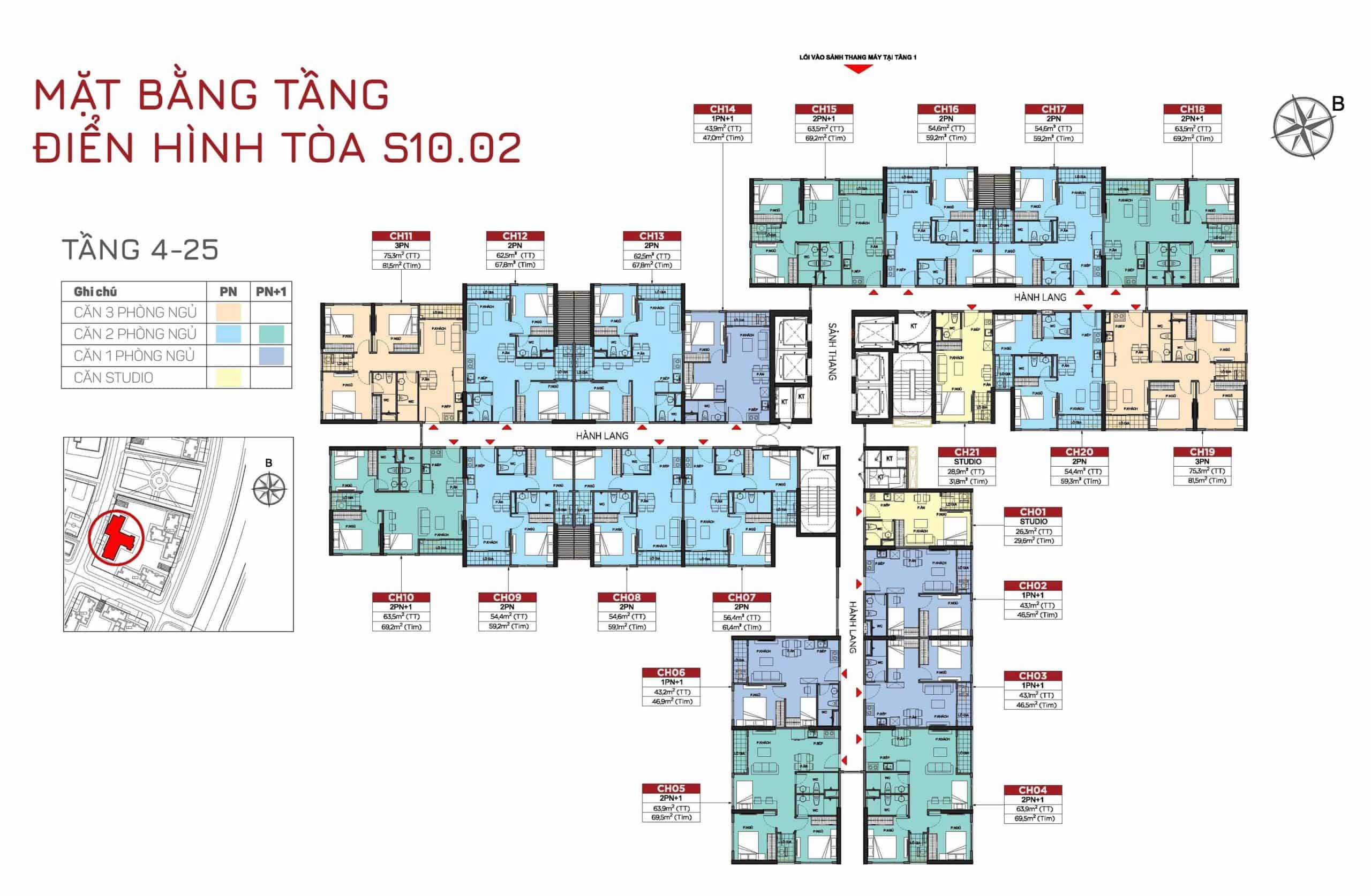 layout tòa s1002 tầng 4-25